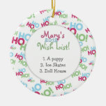 Ho Ho Ho Child's Wish List Christmas Ornaments