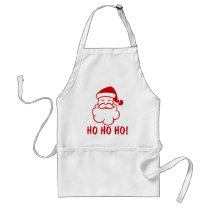 Ho Ho Ho Christmas aprons with funny Santa Claus.