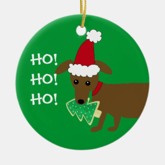HO! HO! HO! Christmas Dachshund Ceramic Ornament