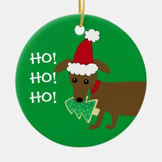 HO! HO! HO! Christmas Dachshund Double-Sided Ceramic Round Christmas Ornament