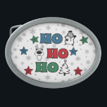 "Ho-Ho-Ho Christmas design Belt Buckle<br><div class=""desc"">Ho-Ho-Ho Christmas design with snowflakes,  snowman,  Christmas tree,  reindeer and colorful stars decoration on white background</div>"