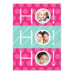 """Ho Ho Ho! Double Sided 4 Photo Holiday Card 5"""" X 7"""" Invitation Card"""