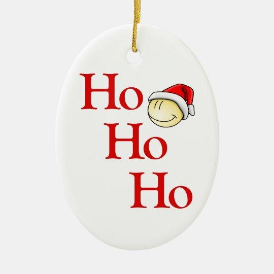 Ho - Ho - Ho -- ¡Es Santa sonriente! Adorno Navideño Ovalado De Cerámica