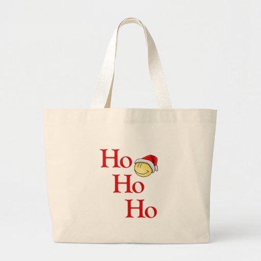 Ho - Ho - Ho -- ¡Es Santa sonriente! Bolsa Tela Grande