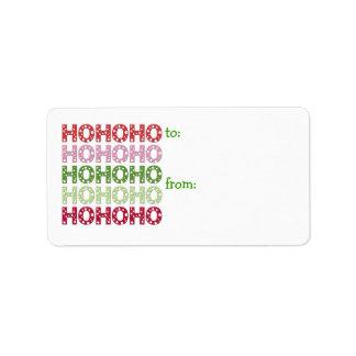 Ho Ho Ho etiqueta del regalo Etiqueta De Dirección