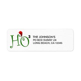 ¡Ho Ho Ho!  Felices Navidad Etiqueta De Remitente