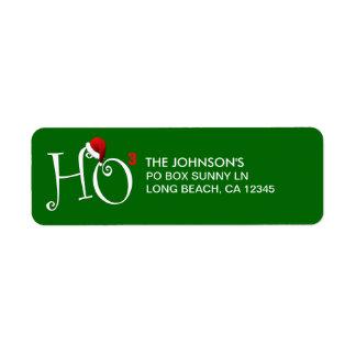¡Ho Ho Ho!  Felices Navidad - verde Etiqueta De Remite