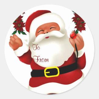 ¡Ho! ¡Ho! ¡Ho! Feliz Christmas_ Pegatina Redonda