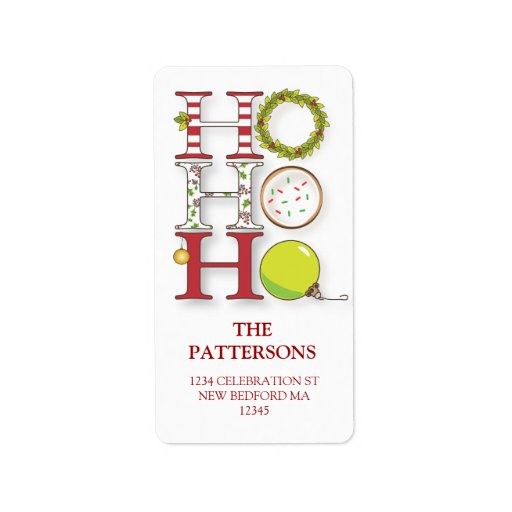 HO HO HO Happy Holiday Christmas Greeting Custom Address Labels