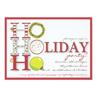 HO HO HO Happy Holiday Christmas Party Card at Zazzle