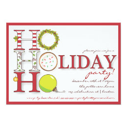 HO HO HO Happy Holiday Christmas Party 5x7 Paper Invitation Card