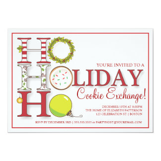 HO HO HO Holiday Cookie Exchange Party Card