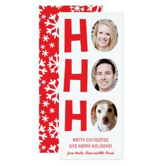 Ho Ho Ho Holiday Photo Card with Patterned Backer