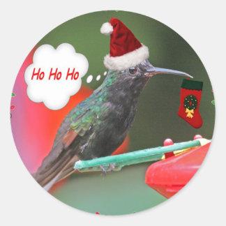 Ho Ho Ho Hummingbird Round Stickers