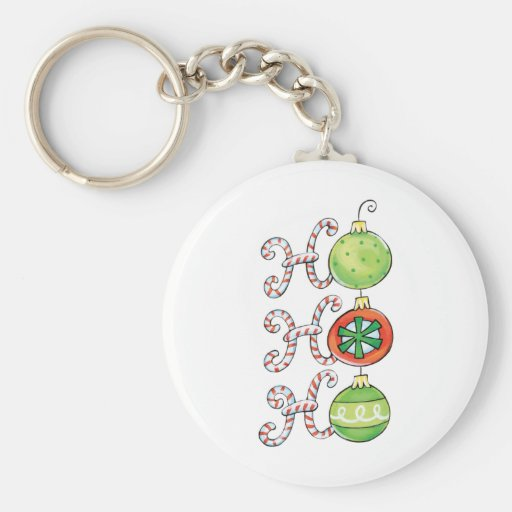 Ho Ho Ho in Candy Canes and Christmas Ornaments Keychain