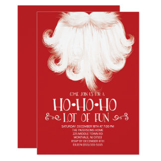 HO HO HO Lots of Fun Santa Christmas Party Card