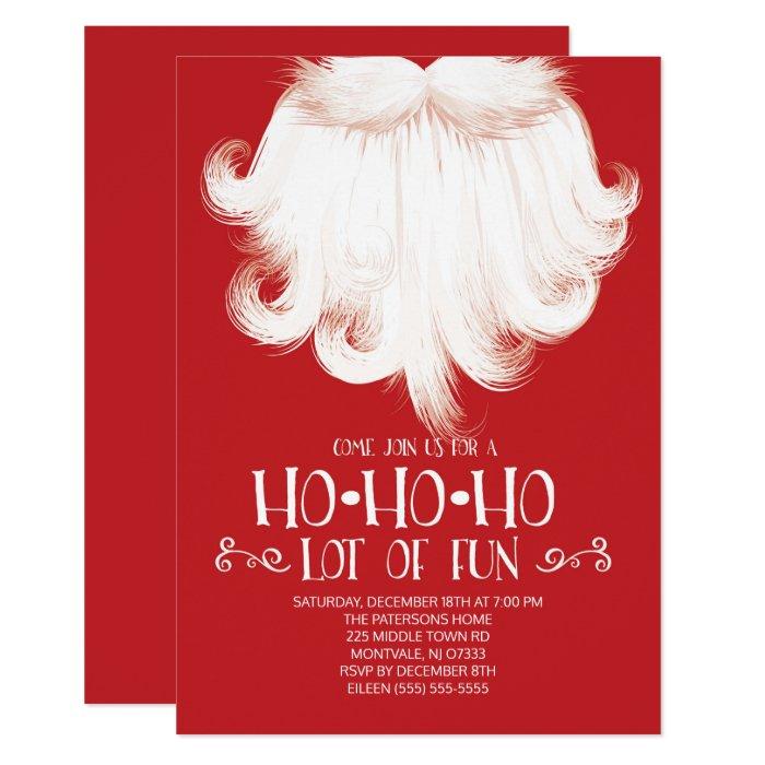 HO HO HO Lots of Fun Santa Christmas Party Card   Zazzle