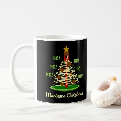 Ho! Ho! Ho! Marinara Christmas Spaghetti and Meatballs Pasta Tree Coffee Mug