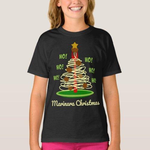 Ho! Ho! Ho! Marinara Christmas Spaghetti and Meatballs Pasta Tree T-Shirt