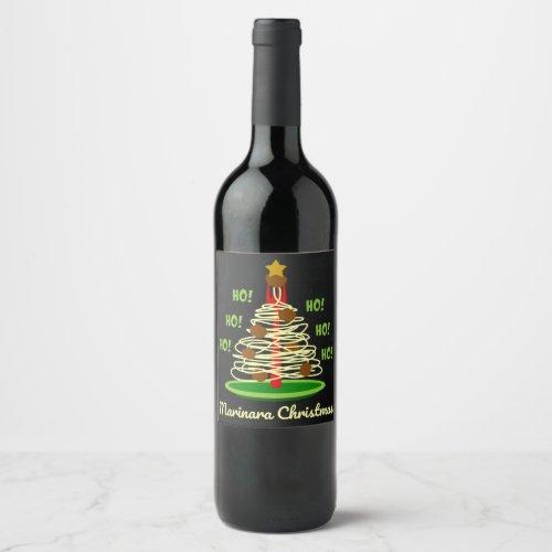 Ho! Ho! Ho! Marinara Christmas Spaghetti and Meatballs Pasta Tree Wine Label