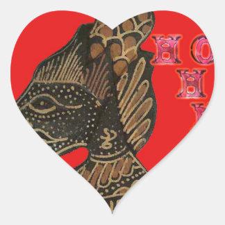 Ho Ho Ho! Merry Christmas Indonesia cute retro vin Heart Sticker