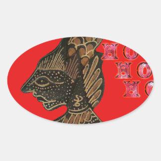 Ho Ho Ho! Merry Christmas Indonesia cute retro vin Oval Sticker