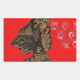 Ho Ho Ho! Merry Christmas Indonesia cute retro vin Rectangular Sticker