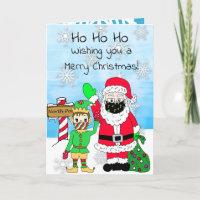 Ho Ho Ho Merry Christmas Santa and Elf in Facemask Card