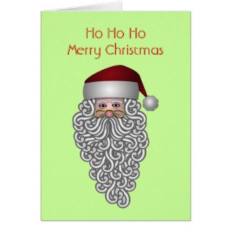 Ho Ho Ho navidad moderno de la barba rizada de Pap Tarjetón