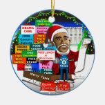 Ho Ho Ho Obama Double-Sided Ceramic Round Christmas Ornament