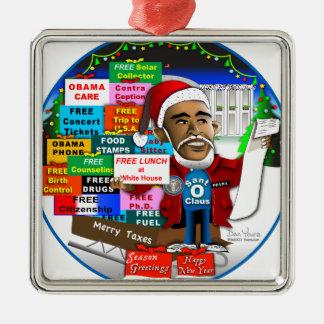 Ho Ho Ho Obama Square Metal Christmas Ornament