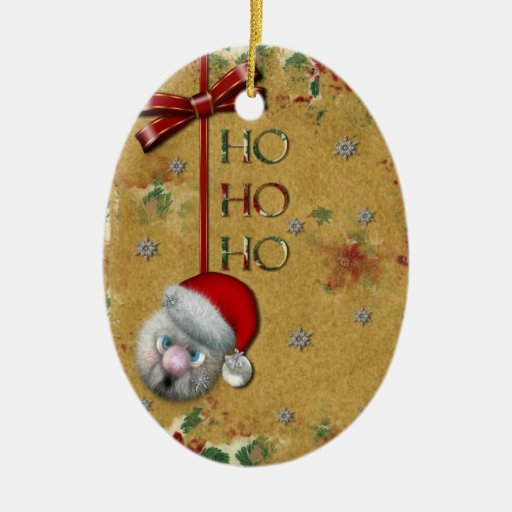 Ho Ho Ho Double-Sided Oval Ceramic Christmas Ornament