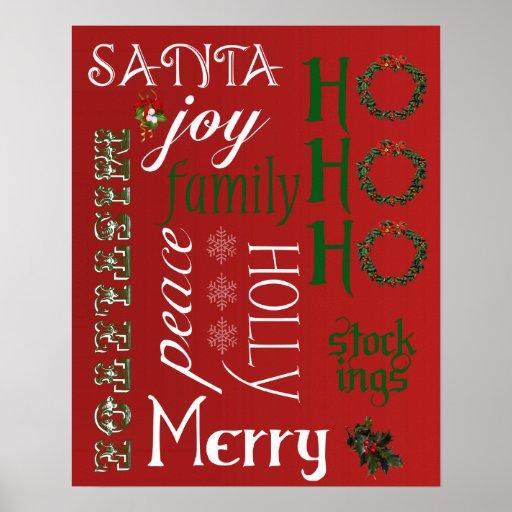 HO HO HO palabras poster o impresión del navidad
