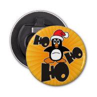 Ho Ho Ho - Penguin - merry christmas   your backgr Button Bottle Opener