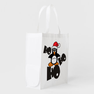 Ho Ho Ho - Penguin - merry christmas + your idea Reusable Grocery Bag