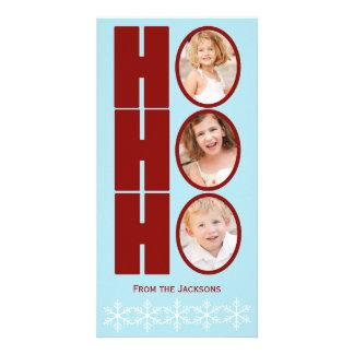 HO HO HO Photo Holiday Card Blue and Red