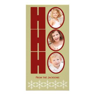 HO HO HO Photo Holiday Card Tan and Red