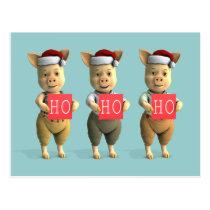 Ho Ho Ho Piglets Postcard