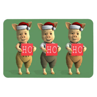 Ho Ho Ho Piglets Rectangular Photo Magnet