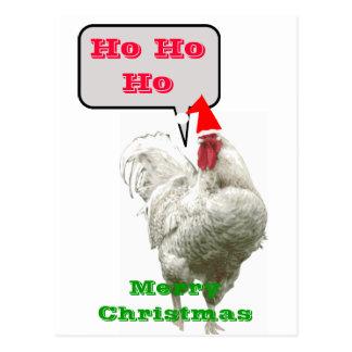 Ho Ho Ho postal grande del gallo de las Felices Na