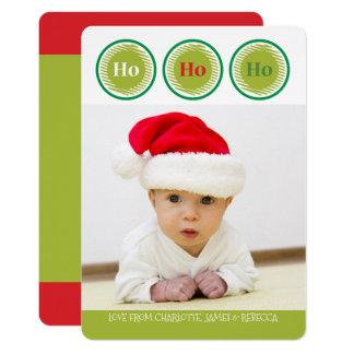 Ho Ho Ho Red Green Personalized Christmas Card
