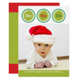 Ho Ho Ho Red Green Personalized Christmas Card