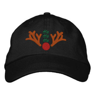 Ho Ho Ho Red Nose Reindeer Embroidery Embroidered Baseball Hat