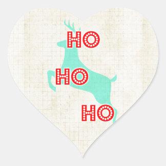 ho ho ho reindeer red blue christmas vintage heart sticker