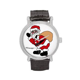 Ho Ho Ho reloj de la correa de cuero de Santa