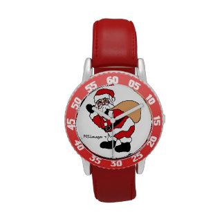 Ho Ho Ho reloj rojo del bisel de los niños de Sant