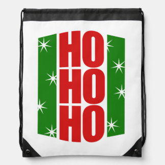 ho ho ho retro christmas drawstring backpack