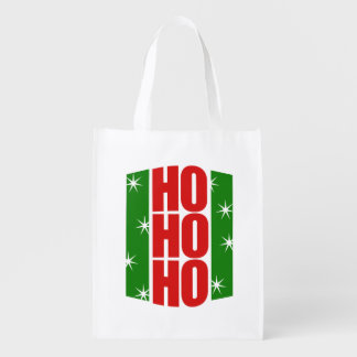 ho ho ho retro christmas reusable grocery bag