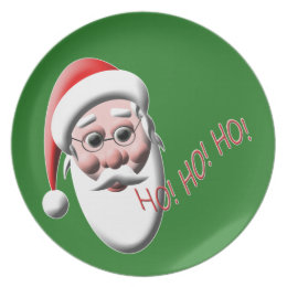 Ho!Ho!Ho! Santa Claus Green Christmas  Plate