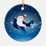 ¡Ho ho ho! Santa en el aeroplano, ornamento Adornos De Navidad